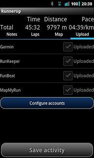 RunnerUp - snímek obrazovky