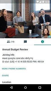 Hangouts Meet - snímek obrazovky