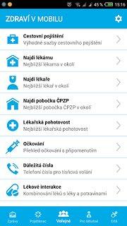 Zdraví v mobilu - snímek obrazovky