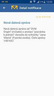 Mobilní klíč - snímek obrazovky
