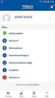 Clubcard Tesco Czechia - snímek obrazovky