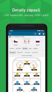 Livesport - sportovní výsledky - snímek obrazovky