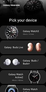 Galaxy Wearable (Samsung Gear) - snímek obrazovky