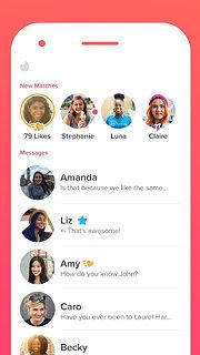 Tinder - snímek obrazovky