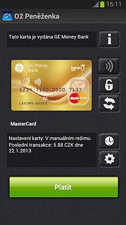 Bezkontaktní platby–Peněženka - snímek obrazovky