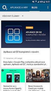 Aplikace od O2 - snímek obrazovky