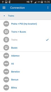 Czech Public Transport IDOS - snímek obrazovky