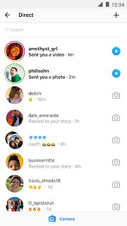 Instagram - snímek obrazovky