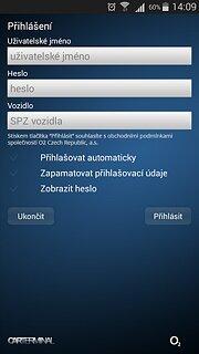 O2 Car Terminal - snímek obrazovky